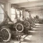 Early 1910s Harley Davidson assembly line