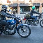 Jada Noriyuki & Stormie Ray ride, geared up on their motorcycles through Portland