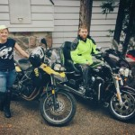 Alicia with the BMW and David from Road Runner Magazine on the Harley