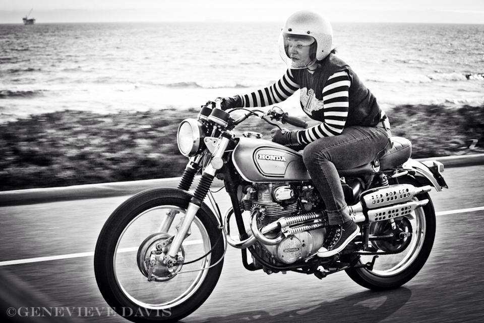 Honda scrambler motorcycle woman, photo by Genenieve Davis