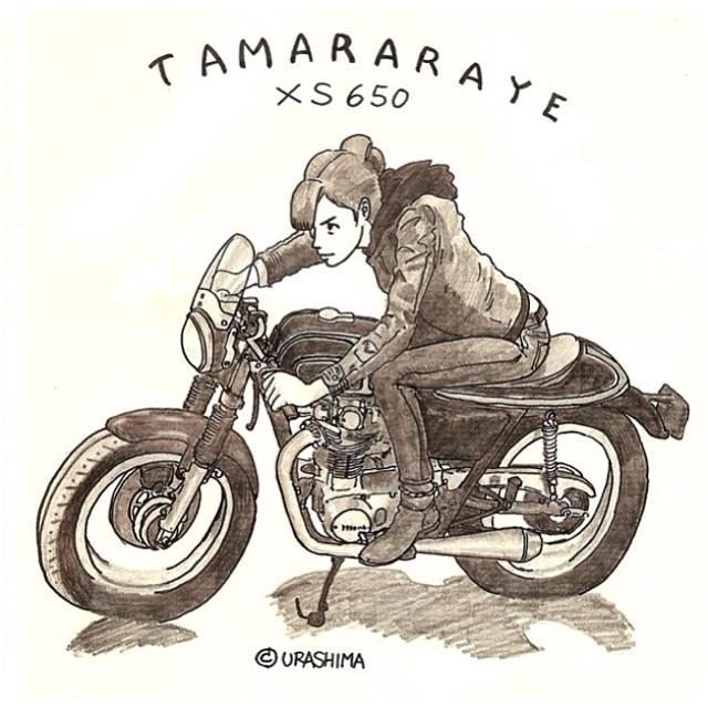 Tamara S Cafe Racer Drawing Moto Lady