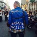"""Caroline's awesome jacket. """"Satan's Waitin"""""""