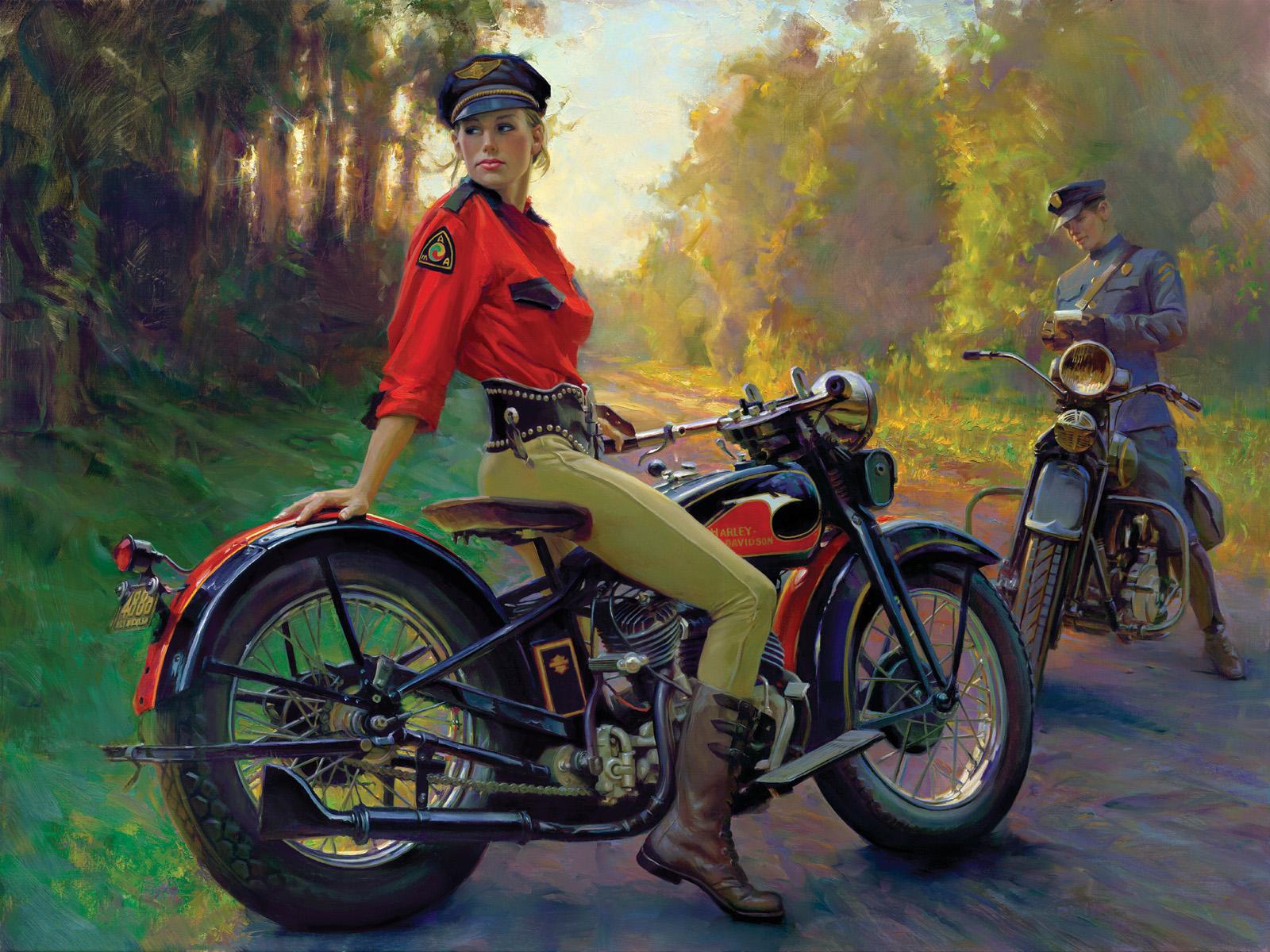 4e0076bafe9e9 David Uhl s Retro Motorcycling Woman Art – Moto Lady