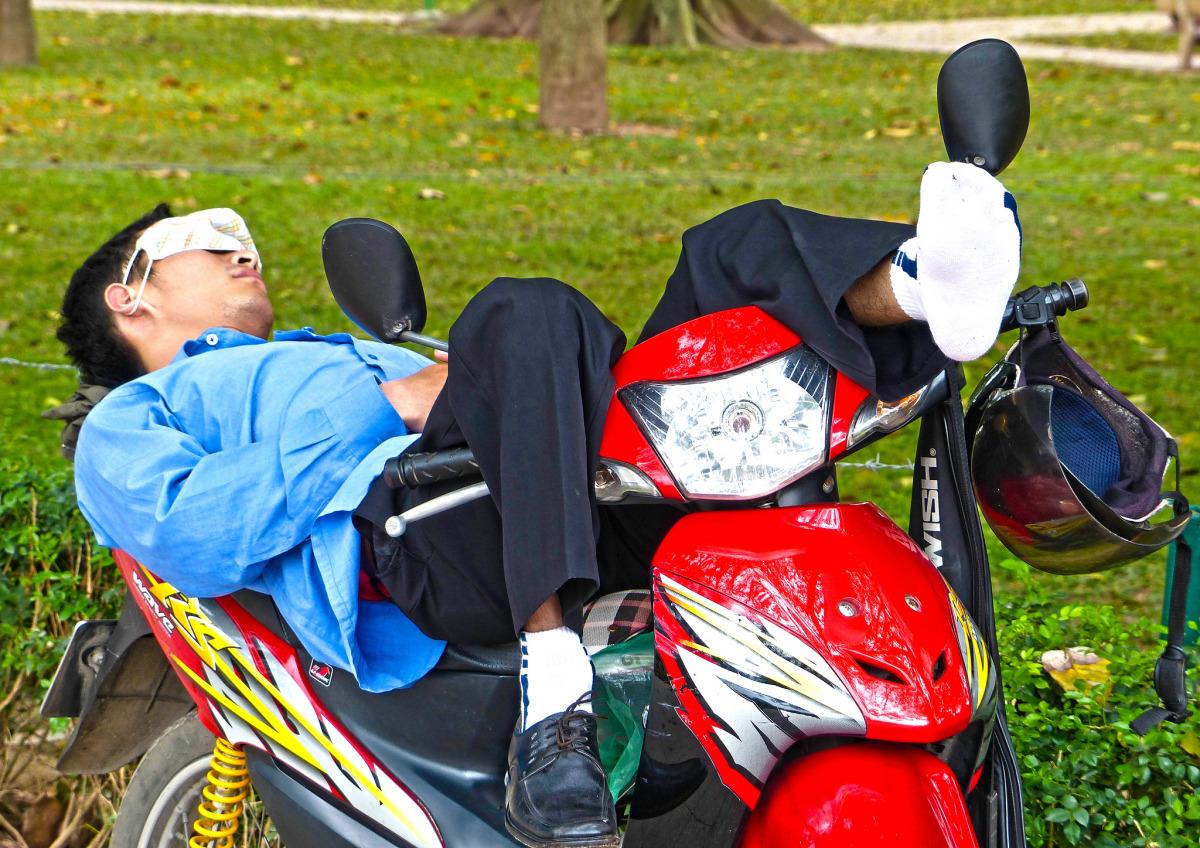 Motorcycle Taxi Driver Taking a Nap, Hanoi - Anthony Coronado