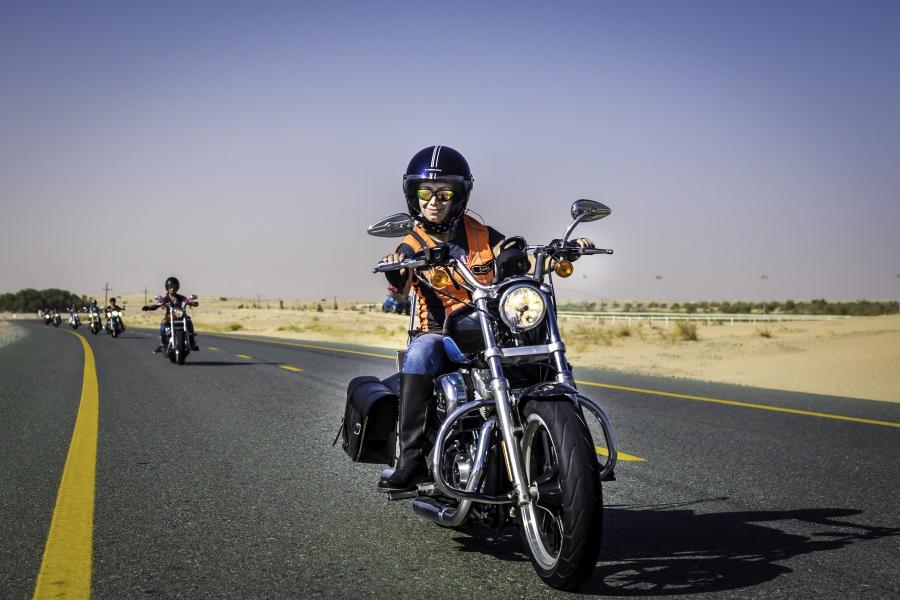Shima Mehri on her Harley in Dubai