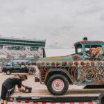 Rae Ripple and Josh Bailey unloading the Apache art truck