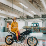Alicia Elfving aka MotoLady on her custom Ducati Monster 750 named Pandora